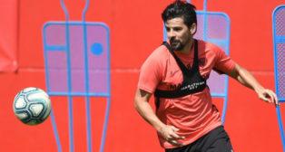 Nolito, en un entrenamiento con el Sevilla