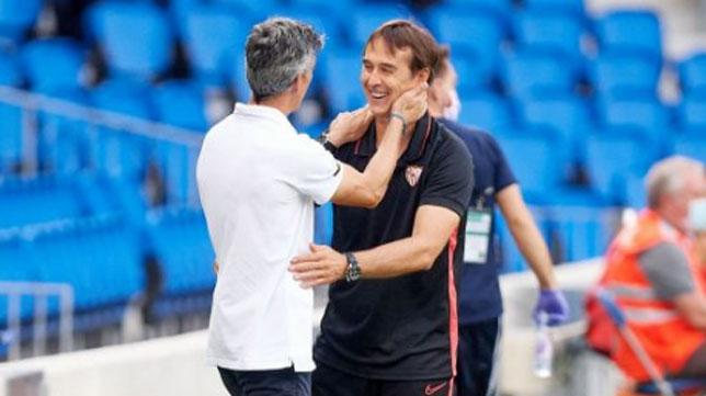 Lopetegui e Imanol se saludan antes del Real Sociedad-Sevilla (Foto: LaLiga).