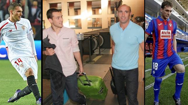 Cristóforo, el día que llegó al Sevilla, en 2013, y con las camisetas del equipo nervionense y del Eibar