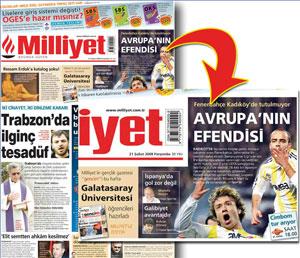 """Sevilla FC: Portada del diario turco 'Milliyet', en la que se elogia al Fenerbahçe como """"el señor de Europa"""""""