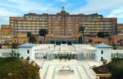 Sevilla FC: Fachada principal del Hospital Universitario Virgen del Rocío