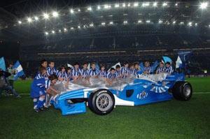 Sevilla FC: En la imagen, presentación del coche del Oporto