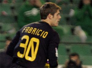 Sevilla FC: El meta deportivista Fabricio, en un partido reciente