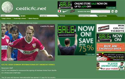 Sevilla FC: Captura de la web del Celtic de Glasgow, anunciando el fichaje de Hinkel