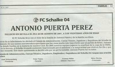 Esquela en recuerdo a Antonio Puerta que aparece hoy en el diario ABC de Sevilla
