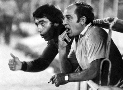Superpaco junto al entrenador Carriega, en 1978