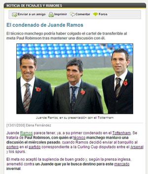 Sevilla FC: Juande, 'arremetido' por Robinson