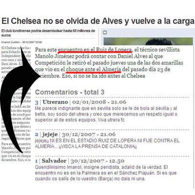 Sevilla FC: Captura y ampliación de 'lapsus' del periodista catalán