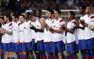 Un momento del recuerdo que el FC Barceloan dispensó al jugador