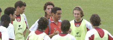 Sevilla FC: Manolo Jiménez con los canteranos