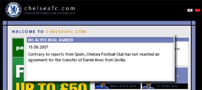 Portada de la web del Chelsea