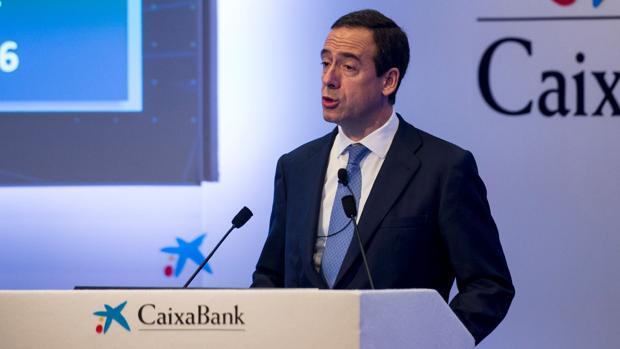 El consejero delegado de CaixaBank, Gonzalo Gortázar, este jueves en Barcelona