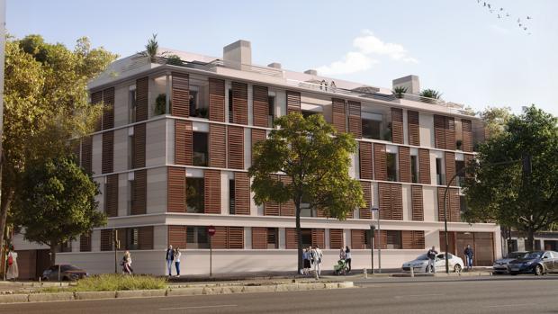Recreación del futuro edificio de la calle Torneo que hará esquina con Puerta San Juan de Acre