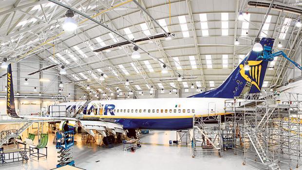 Este es el centro de mantenimiento de Ryanair en Wroclaw (Polonia), que tiene las mismas características que el que habrá en Sevilla en 2018