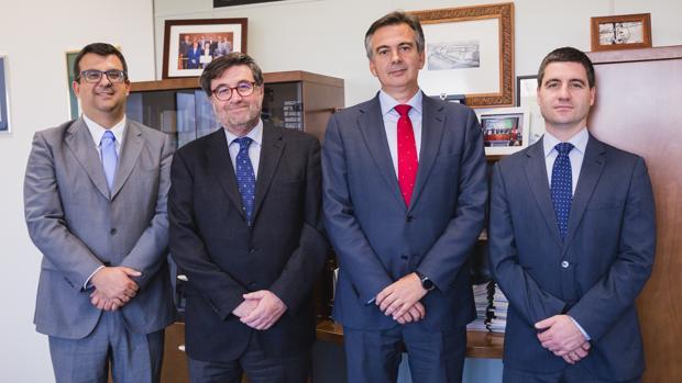 Juan Santos, Alfonso Bilbao, Pedro Marín y Enrique Bilbao