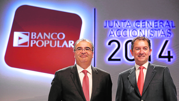 Ángel Ron, expresidente de Banco Popular junto a su exCEO, Francisco Gómez