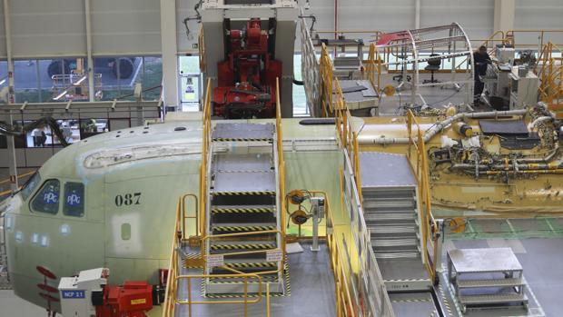 Planta de montaje final del A400M en la factoría de Airbus San Pablo de Sevilla