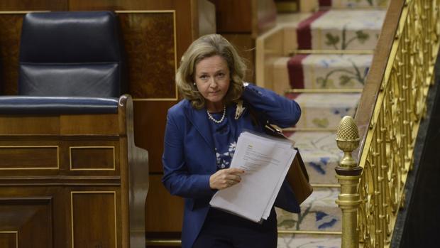 La ministra de Economía, Nadia Calviño, en el Congreso de los Diputados