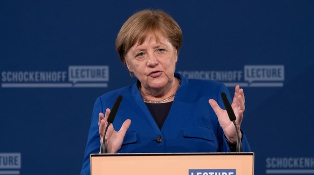 Angela Merkel, canciller alemana, en una conferencia