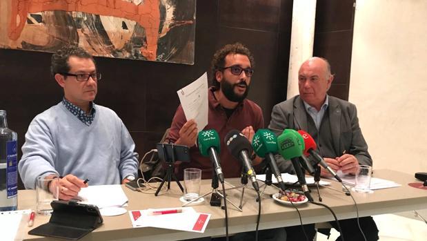 Miembros de Justicia por la Sanidad, con Spiriman al frente, en la rueda de prensa