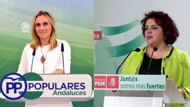 La popular Marifrán Carazo, a la izquierda, y la socialista Teresa Jiménez, a la derecha.