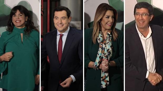 Los candidatos, a su llegada a Canal Sur