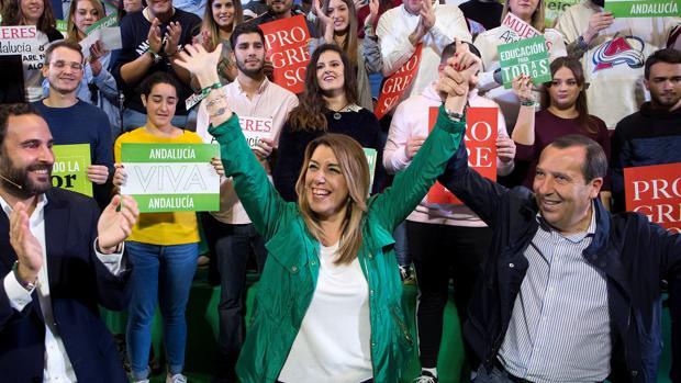 Susana Díaz, en un acto electoral en la Facultad de Derecho de Málaga