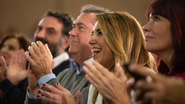 Susana Díaz y Juan Espadas, enel mitin en Pino Montano