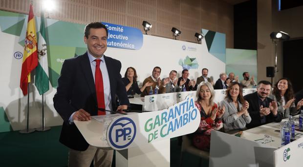 Juanma Moreno este martes en el Comité Ejecutivo Autonómico