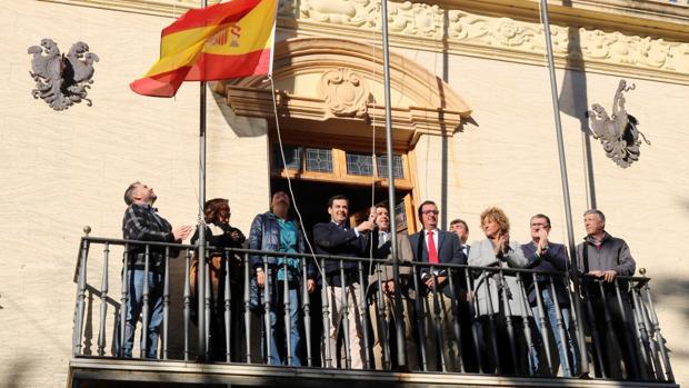 El líder del PP andaluz, Juanma Moreno, ayer en Ayamonte durante un acto de homenaje a la Constitución