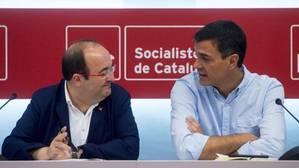 Iceta y Sánchez, reunidos hoy en la sede del PSC en Barcelona