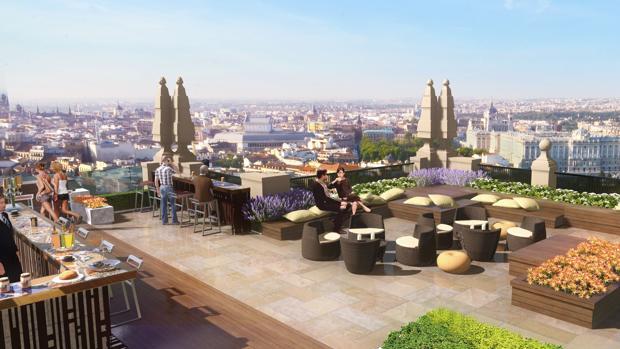 Recreación de una de las zonas de restauración en las terrazas