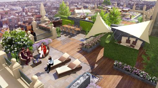 Recreación de una de las terrazas del futuro hotel, con tumbonas y mesas