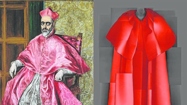 Retrato del Cardenal Niño de Guevara, del Greco. A la derecha, abrigo diseñado por Cristobal Balenciaga para su colección de 1954-1955
