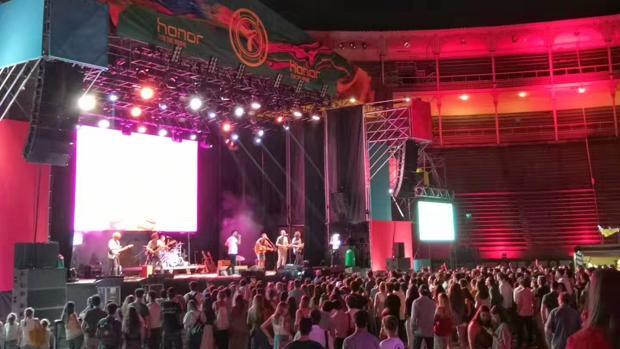 El grupo Taburete, anoche en Madrid durante el concierto organizado por Honor