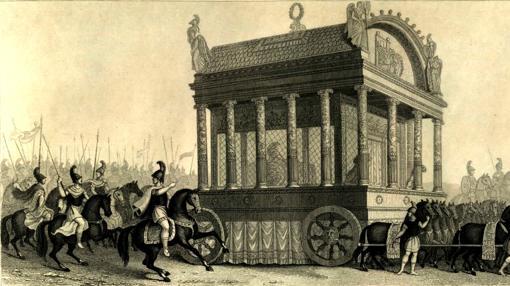Reconstrucción del catafalco de Alejandro según Diodoro (mitad del S. XIX)