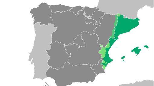 Territorios reivindicados como Países Catalanes por ser poblados por catalanoparlantes