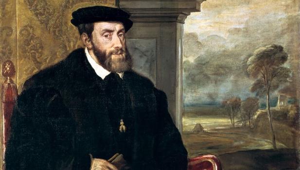 Detalle del Retrato de Carlos V sentado, por Tiziano