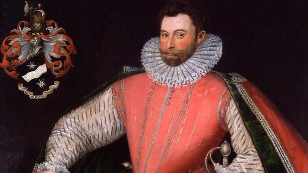 Retrato de Drake, junto a su escudo de armas con uno de sus lemas: «Sic parvis magna» («La grandeza nace de pequeños comienzos»)
