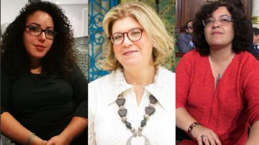 Monia Ben Hamadi (Izq), redactora de Inkyfada; Faten Abdelkefi (Cen), fundadora del colectivo Be Tounsi y miembro del colectivo feminista Nissa al 46; Nadia Chaabane (Der), antigua diputada de la Asamblea Constituyente Tunecina