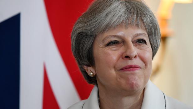 Theresa May hoy, poco antes de su comparecencia en el Parlamento
