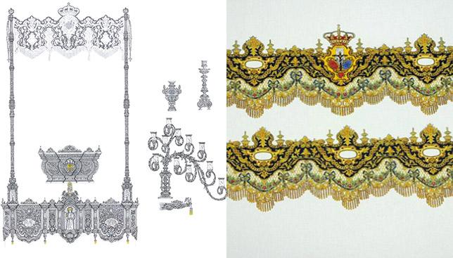 Diseño del nuevo palio de Torreblanca, tanto en orfebrería como en bordados