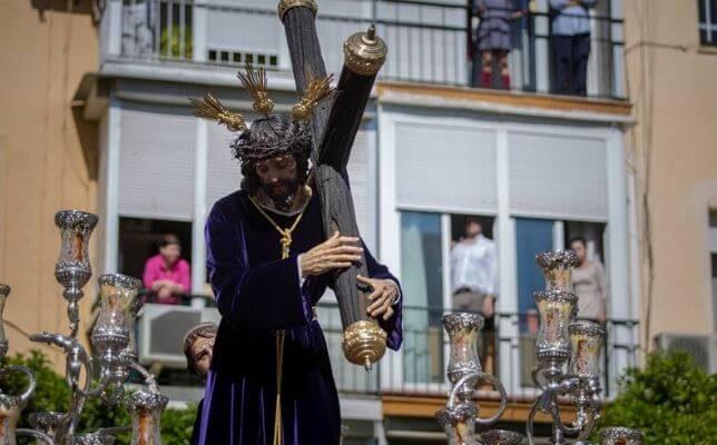 Jesús de la Caridad de San José Obrero el Sábado de Pasión de la Semana Santa de Sevilla. Foto: Vanessa Gómez