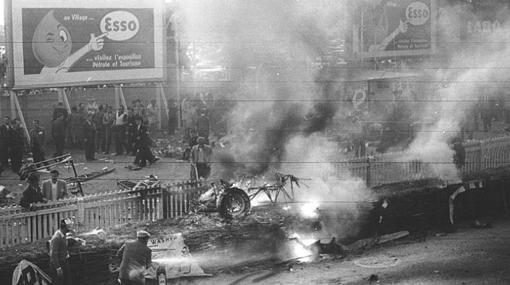 Imagen del accidente en las 24 horas de Le Mans en 1955