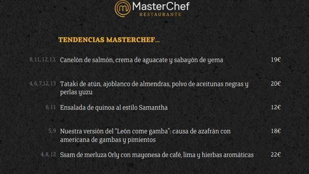 Detalle de la carta del restaurante MasterChef