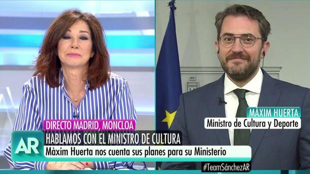 Màxim Huerta en la entrevista con Ana Rosa Quintana
