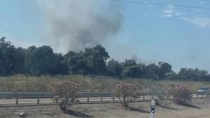 El incendio se ha declarado en la salida de Sevilla dirección Mérida