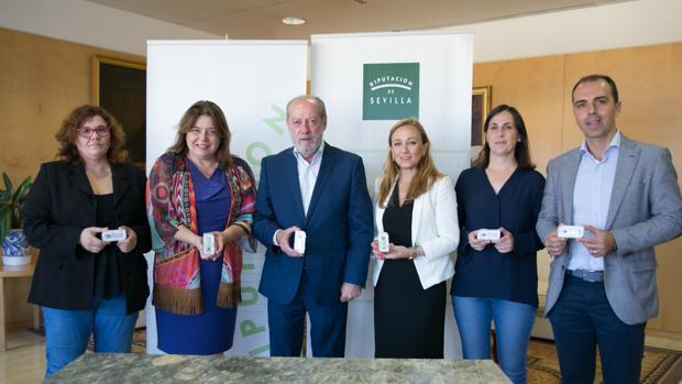 Villalobos, junto a representantes de los grupos políticos con representación en la Diputación de Sevilla