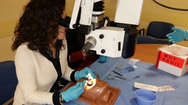 Una oftalmóloga asiste al curso experimental este jueves en el hospital San Juan de Dios