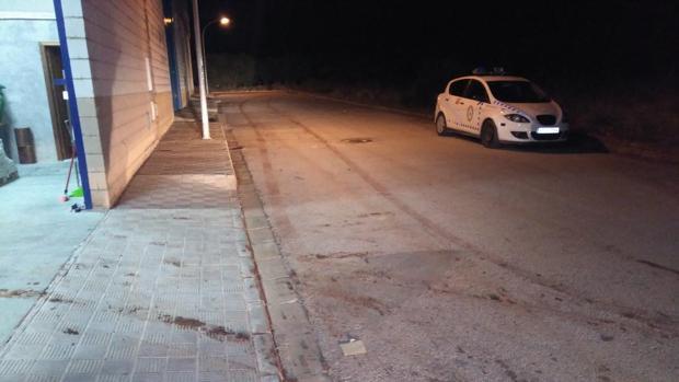 Presencia policial en una de las naves del polígono industrial de El Fontanal de Morón